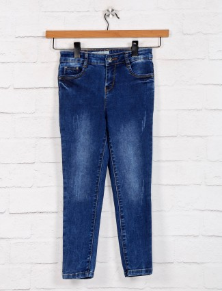 Blue solid casual denim jeans