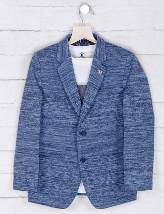 Blue solid terry rayon blazer with t-shirt