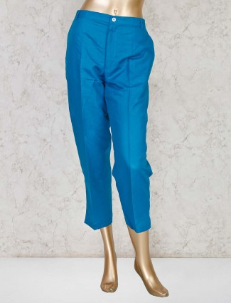 Blue solid trouser for women