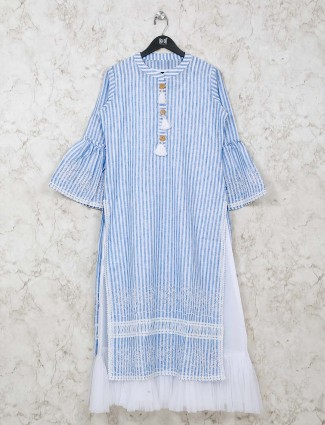 Blue stripe festive wear tunic in cotton