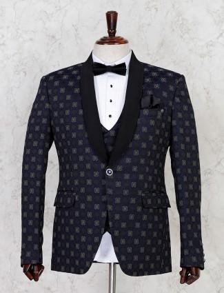 Blue thread woven terry rayon mens tuxedo coat suit