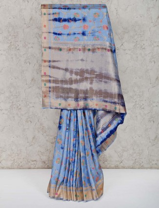 Blue thread zari weaving banarasi silk saree