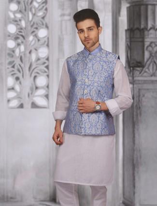 Blue white silk wedding war waistcoat set