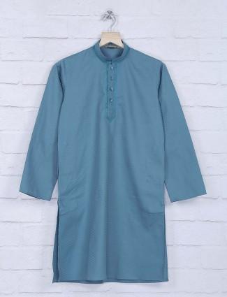 Blue zitter pattern chinese neck kurta suit