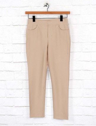 Boom beige hued cotton fabric jeggings