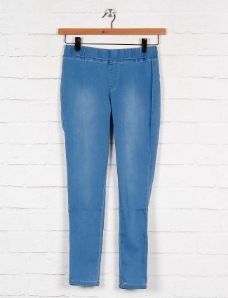 Boom blue color washed denim jeggings