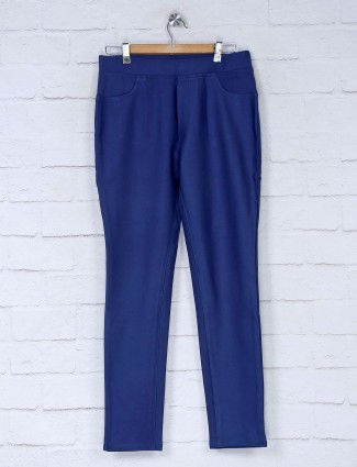 Boom blue cotton slim fit jeggings
