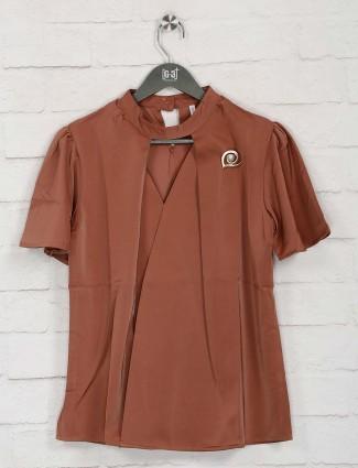 Boom brown solid half sleeves top
