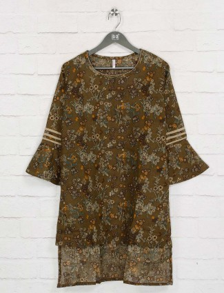 Boom olive printed cotton long top