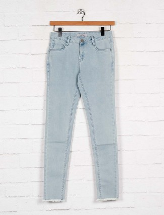 Boom solid light blue denim casual wear jeans