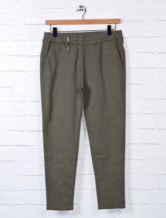 Boom solid olive cotton jeggings