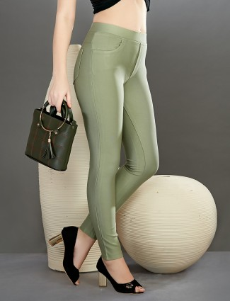 Boom solid pista green slim fit jeggings