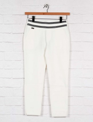 Boom solid white casual skinny fit jeggings