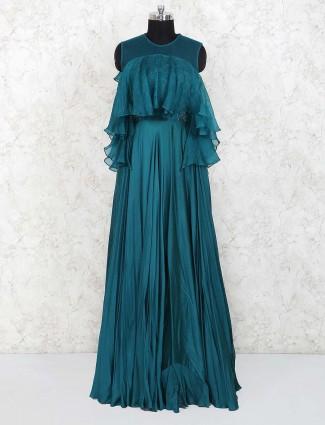 Bottle green designer gown in satin