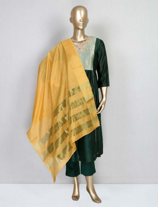 Bottle green festive cotton silk salwar suit