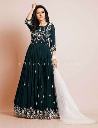 Bottle green georgette anarkali salwar suit for wedding