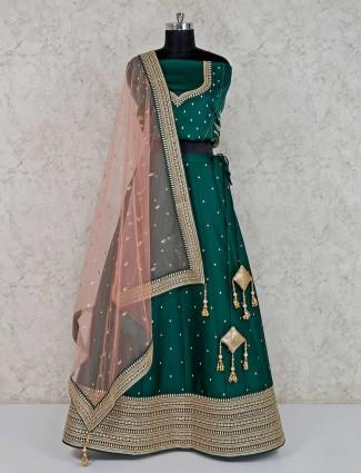 Bottle green raw silk semi stitched lehenga choli