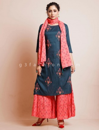Bottle green sharara suit in cotton