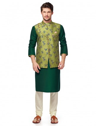 Bottle green terry rayon waistcoat set for party
