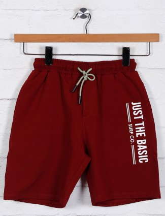 Boys cotton shorts in solid maroon