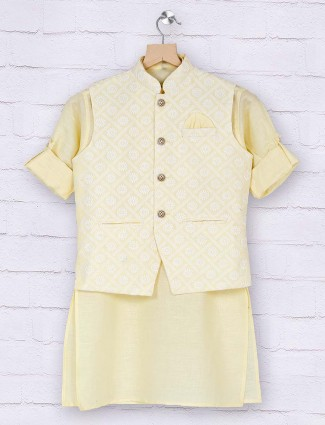 Boys light yellow cotton waistcoat set