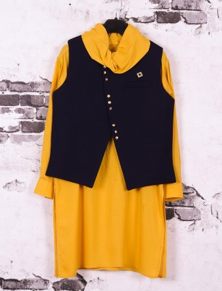 Boys yellow and black color waistcoat set