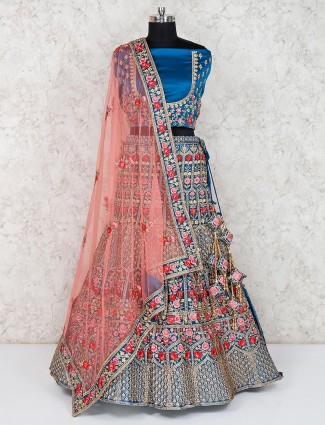 Bridal designer blue semi stitched lehenga choli