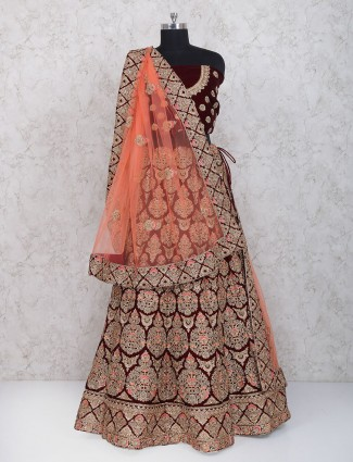 Bridal wear maroon color velvet semi stitched lehenga choli