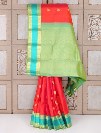 Bridal wear red and green color slk saree