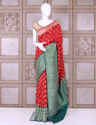 Bridal wear red pure banarasi silk saree