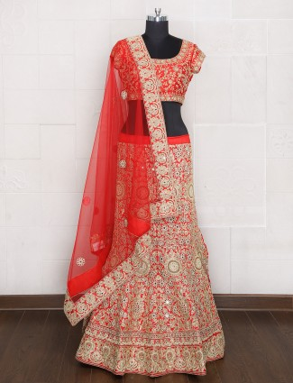 Bridal wear red silk unstitched lehenga choli