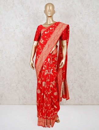 Bright look red dola silk saree with matching pallu