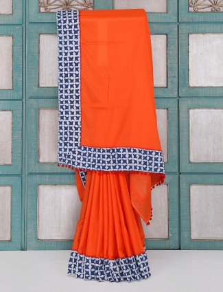 Bright orange color plain saree