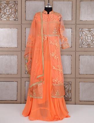 Bright orange georgette fabric anarkali suit