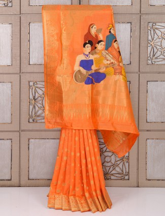 Bright peach bhagalpuri silk saree