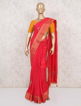 Bright pink dola silk wedding saree