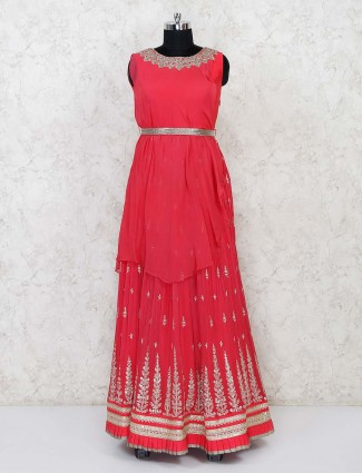 Bright pink georgette floor length anarkali suit