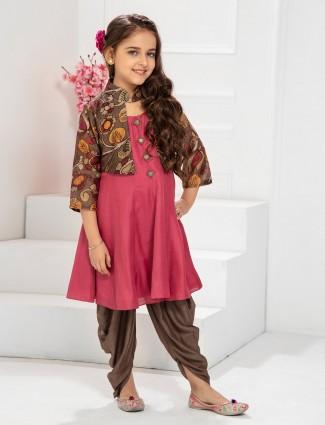 Bright pink jecket style punjabi dhoti suit