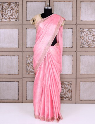 Bright pink smoke georgette fabric saree