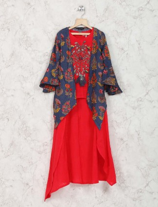 Bright red color jacket style palazzo suit