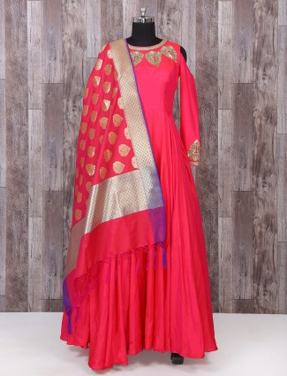 Bright red color silk anarkali suit