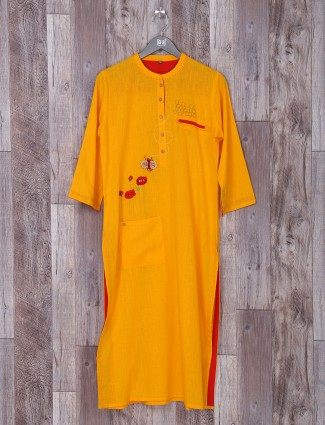 Bright yellow color cotton fabric kurti