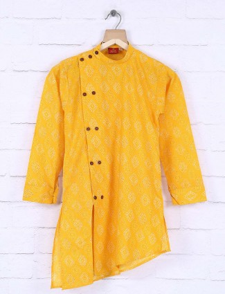 Bright yellow colored cotton festive kurta suit