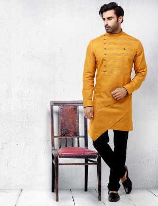 Bright yellow hue festive wear kurta suit