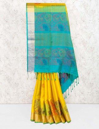 Bright yellow hue wedding semi silk saree