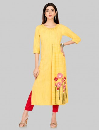 Bright yellow jequard cotton festive kurti