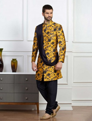 Bright yellow printed indo western