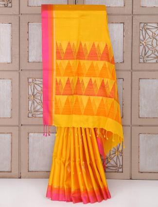 Bright Yellow silk fabric saree