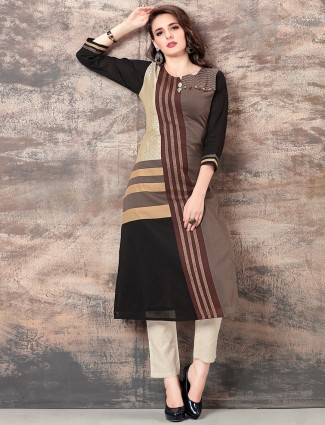Brown and black cotton silk kurti