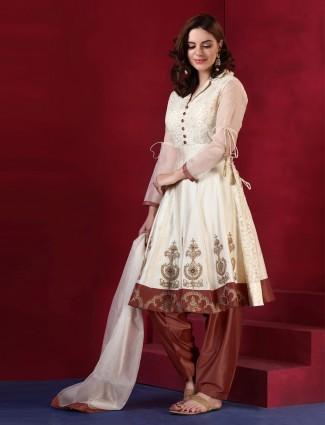 Brown and white silk punjabi salwar suit